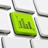 Datortangentbord med infographicsbeståndsdelen Arkivbild