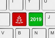 Datortangentbord med jultangenter fotografering för bildbyråer