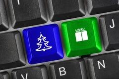Datortangentbord med jultangenter Arkivfoto