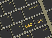 Datortangentbord med knappar för amerikansk dollar och för japansk yen Royaltyfri Foto