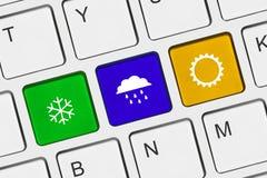 Datortangentbord med vädertangent Arkivbilder
