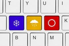 Datortangentbord med vädertangent Fotografering för Bildbyråer
