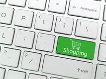 Datortangentbordet skriver in knappen med shopping- och shoppingvagn s Royaltyfria Foton