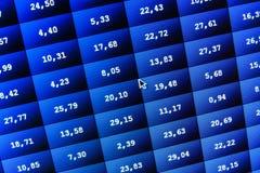 Datos de intercambio financieros y comunes en la pantalla de ordenador Efecto bajo del dof Tablero coloreado del teletipo en dato Foto de archivo