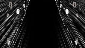 Datos de la corriente de la red - el movimiento rápido en espacio con los ceros y unos, fondo abstracto moderno generado por orde ilustración del vector