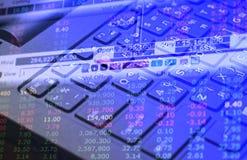 Datos de la inversión del mercado de acción sobre el concepto del negocio del fondo del teclado para el uso del fondo Imagen de archivo libre de regalías