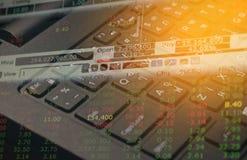 Datos de la inversión del mercado de acción sobre el concepto del negocio del fondo del teclado para el uso del fondo Fotos de archivo libres de regalías