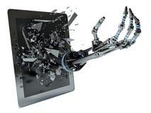 Datos de la mano y PC de la tableta ilustración del vector