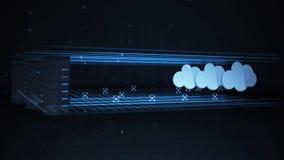 Datos de transferencia de un servidor de red a una nube que computa la ubicación de reserva stock de ilustración
