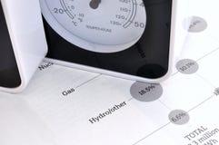Datos del calibrador y de las fuentes de energía de la temperatura Foto de archivo libre de regalías