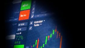 Datos del mercado de acción en azul en concepto de la pantalla LED Imagen de archivo