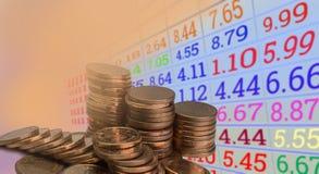 Datos del mercado de acción sobre datos digitales, financieros Foto de archivo