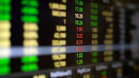 Datos del mercado de acción sobre pantalla de visualización Fotografía de archivo