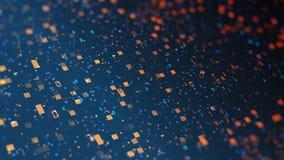 datos digitales anaranjados azules del código binario 3d concepto futurista de tecnología de la información Animación por ordenad almacen de video