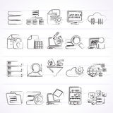 Datos e iconos del analytics Fotografía de archivo libre de regalías