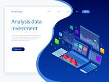 Datos e inversión isométricos del análisis Pila de documentos con un sello oficial y de lápices en un vidrio Un método para stock de ilustración