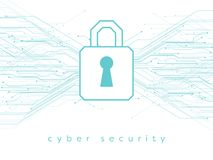 Datos, ejemplo en línea, cibernético del vector de la seguridad con el candado y líneas impresas de la placa de circuito stock de ilustración