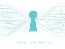 Datos, ejemplo en línea, cibernético del vector de la seguridad con el ojo de la cerradura y líneas impresas de la placa de circu stock de ilustración