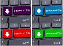 Datos electrónicos del almacenamiento con el botón del fichero de la transferencia directa Foto de archivo