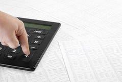 Datos financieros calculadores Imagenes de archivo