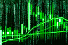 Datos financieros del mercado de acción Carta del gráfico del palillo de la vela de la acción m Fotografía de archivo libre de regalías