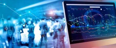 Datos financieros sobre un monitor Aumento y beneficios del mercado de la inversi?n y de acci?n con las cartas del gr?fico foto de archivo