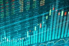 Datos financieros sobre un monitor, datos del mercado de acción sobre estafa de la pantalla LED Foto de archivo