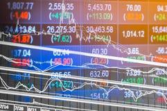 Datos financieros sobre un monitor, gráfico del palillo de la vela del mercado de acción, Imagen de archivo