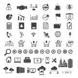 Datos grandes e iconos del negocio fijados Foto de archivo