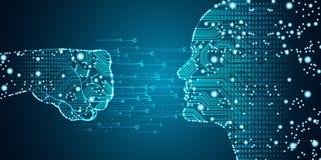 Datos grandes e inteligencia artificial que cortan concepto stock de ilustración
