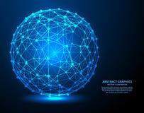 Datos grandes, ejemplo del vector Conexiones de red con los puntos y las líneas Fondo abstracto de la tecnología stock de ilustración