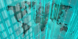 Datos grandes en el mundo azul stock de ilustración