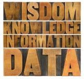 Datos, información, conocimiento, sabiduría Imagen de archivo libre de regalías