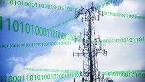 Datos que transmiten de la torre celular almacen de metraje de vídeo