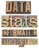 Datos, stats, información, analytics imagen de archivo libre de regalías