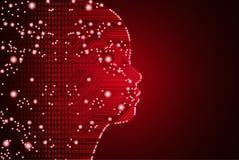 Datos y concepto grandes de la cara del niño de la inteligencia artificial stock de ilustración