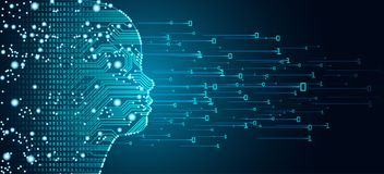 Datos y concepto grandes de la cara del niño de la inteligencia artificial libre illustration