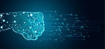 Datos y concepto grandes de la dominación de la inteligencia artificial ilustración del vector