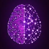Datos y concepto grandes del cerebro de la inteligencia artificial ilustración del vector
