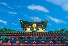 datsan的Ivolginsky,佛教寺庙的屋顶 库存照片