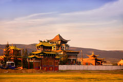 Datsan at the soft light of a sunset. Traditional Buddhist temple Royalty Free Stock Photography