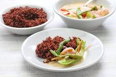 Datshi d'AME avec du riz rouge, cuisine bhoutanaise Image stock