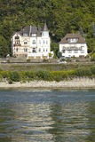 Dattenberg (Germany) - Some houses at the Rhine river. Some houses along the riverside of the Rhine at Dattenberg (Germany, Rhineland Palatinate, administrative Royalty Free Stock Photography