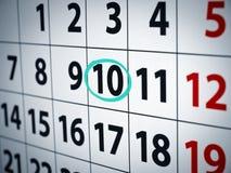 Datum am 10. Lizenzfreie Stockfotos