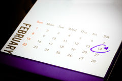 Datum av Februari 14 på kalendern Royaltyfri Fotografi