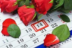 Datum av Februari 14 valentin dag Fotografering för Bildbyråer