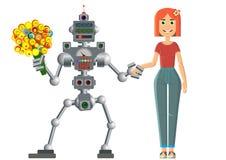 Datum av roboten och mannen Utvecklingen av civilisation stock illustrationer