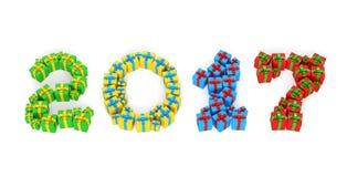 Datum des neuen Jahr-2017 in Form von Geschenkboxen Stockfotografie