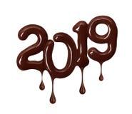 Datum des neuen Jahres 2019 gemacht von geschmolzener Schokolade lizenzfreies stockbild