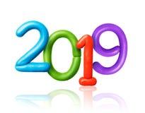Datum des neuen Jahres 2019 werden von farbigem Plasticine gemacht lizenzfreie stockfotos